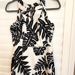 Black and white tropical palm print dress